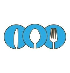blue cutlery icon image design vector image