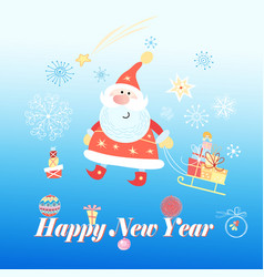 bright festive merry christmas greeting card with vector image