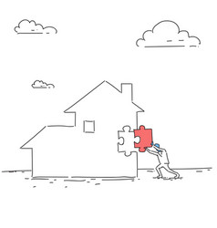 Business man build house paying debt sketch vector