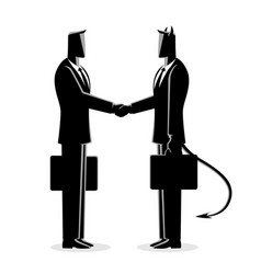 Businessman making a deal with the devil vector