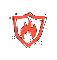 Cartoon fire warning shield sign icon in comic vector