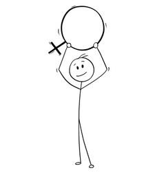Cartoon of man holding female sex symbol vector