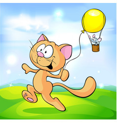 cat playing with mouse on green meadow - cute vector image