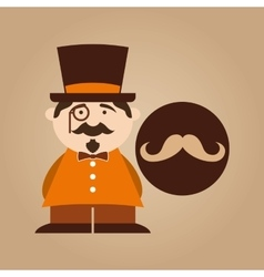Character male hipster mustache vector
