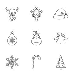 Christmas icons set outline style vector