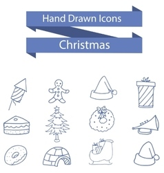 Christmas icons style of art vector