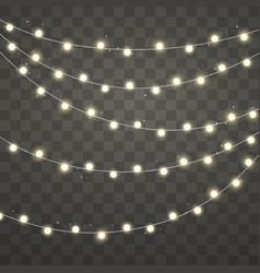 christmas lights xmas glowing garland holiday vector image