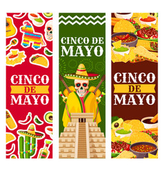 cinco de mayo mexican greeting banners vector image