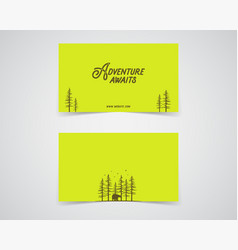 Clean business card template mountain forest vector