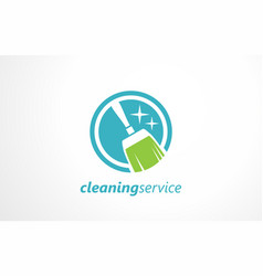 cleaning service logo design idea vector image