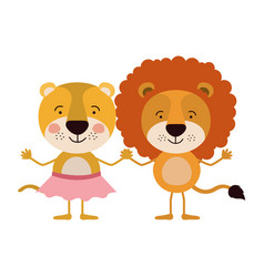 Colorful caricature with couple of lioness holding vector