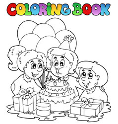 Coloring book with party theme 2 vector