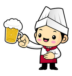 cook character is holding a beer toast isolated vector image