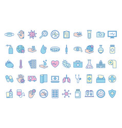 covid19 19 virus line and fill style icon set vector image