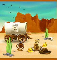 cowboy accessories wild west vector image