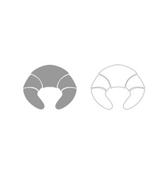 Croissant grey set icon vector