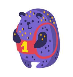 Cute cartoon indigo blue teddy bear with number vector