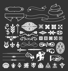 decorative vintage elements and ribbon set vector image