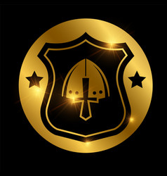 Defense logo design medieval shield on golden vector