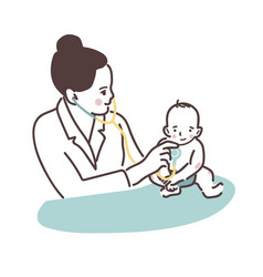 doctor and baby a female doctor pediatrician vector image