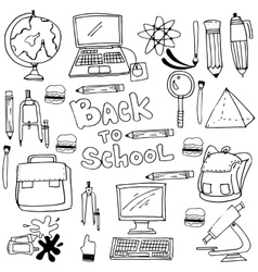 Doodle of hand draw school supplies vector