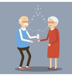 Elderly Couple Listening to Music in the vector image
