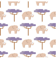 elephant in beige and baobab tree seamless pattern vector image