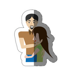 Embracing couple lovely shadow vector