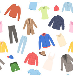 Fashion male and female clothes seamless pattern vector