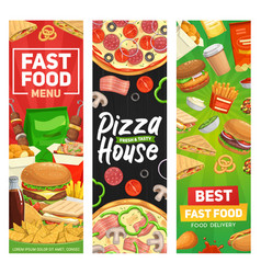 fast food banners burgers fastfood restaurant menu vector image