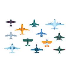 Flat airplanes top view military jet aircraft vector