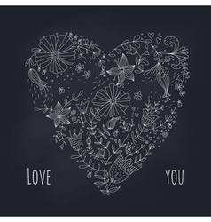 Floral heart on blackboard vector