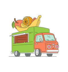 food truck selling fruit - isolated drawing of vector image