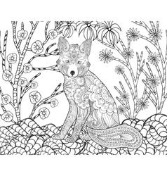 Fox in fantasy forest vector