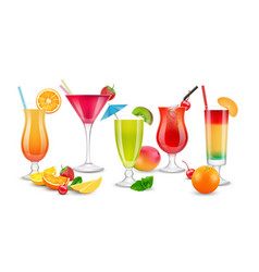 fruits drinks seasonal summer realistic cocktails vector image