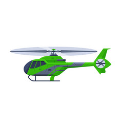 Green helicopter aircraft flying green chopper vector
