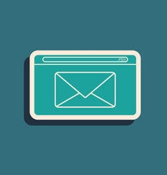 Green mail and e-mail icon isolated on blue vector