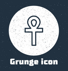 Grunge line cross ankh icon isolated on grey vector