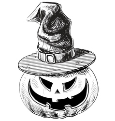 Halloween pumpkin in magic witch hat vector