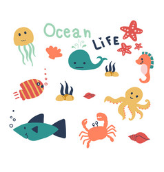 hand drawn of sea life cute animal in the ocean vector image