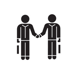 hand shaking businessmen agreement black vector image