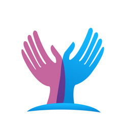 Hands reaching out for help charity icon vector