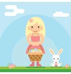 Happy girl bunny basket easter egg icon sky vector
