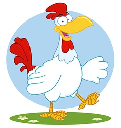 Happy White Rooster Walking vector image
