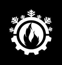 Hot and cool with gear color logo design vector