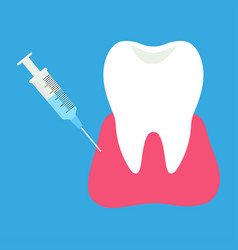 Injection anesthesia for treatment tooth vector