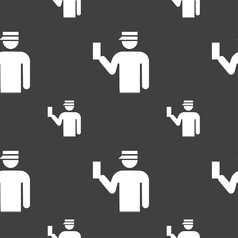 Inspector icon sign Seamless pattern on a gray vector image