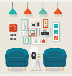 Interior living room style vector