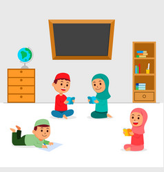 islam kids sit and reading book vector image
