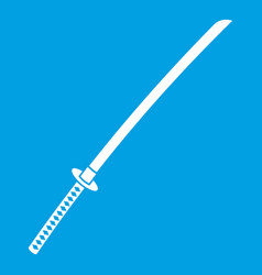 Japanese katana icon white vector